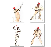 Gina Foster The Cricketers Set of 4 Matted Prints