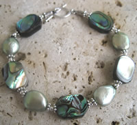 Abalone Coin Pearl Bracelet