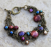 Freshwater Pearl Antique Bronze Chain Bracelet