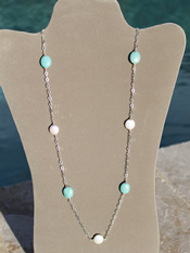 Freshwater Pearl Amazonite Sterling Silver Chain