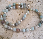 Amazonite White Pearl Necklace